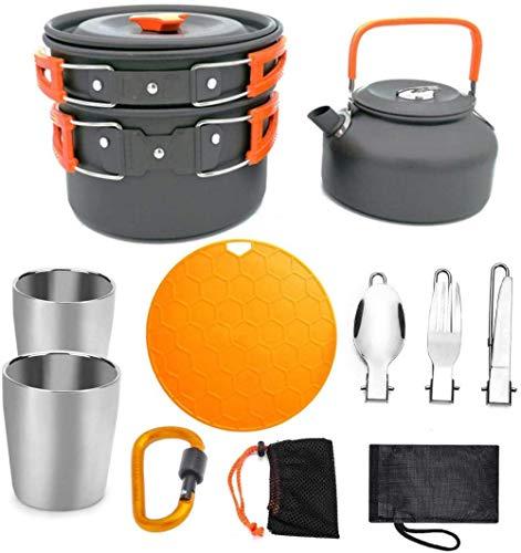 Acampar Cocina,Juego de ollas Tetera 2-3 Personas con Tabla para Cortar Tazas,para Hoguera De Acampada Ollas Y Sartenes De Acampada