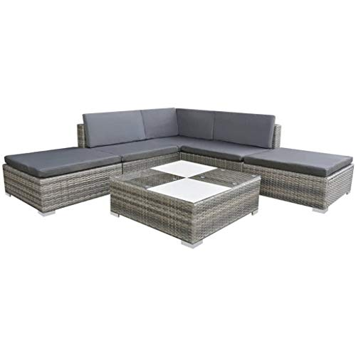 vidaXL Gartensofa 6-TLG. Poly Rattan Grau Sitzgruppe Lounge Gartenmöbel Set