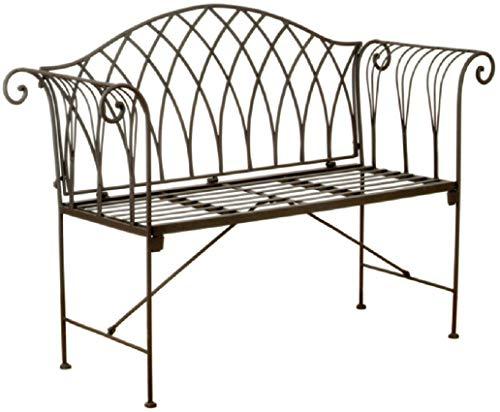 ETC dekorative ausgefallene Garten-Bank Sitz-Bank im englischen Landhausstil Metall Dunkelbraun