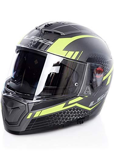 LS2 Helm FF390 BREAKER SPLIT Integralhelm titanium gelb mit Pinlock und Sonnenblende Größe M (57/58)