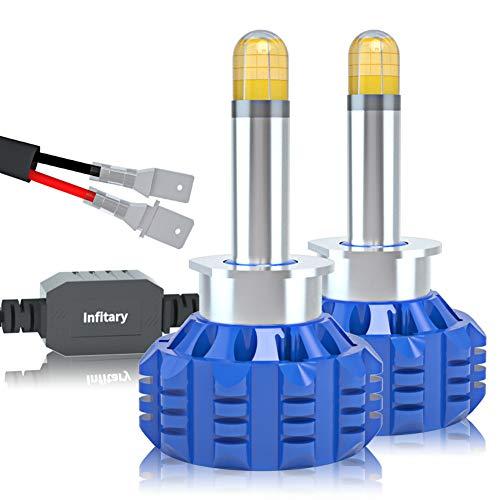 DOOK H1 Bombilla LED Coche, 2 Pcs Bombillas para Faros LED de Coche Faros de Xenón 30000LM, Impermeable IP68 76W Ventilador Silencioso Interior