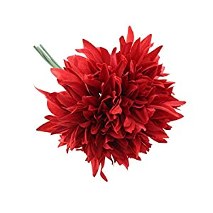 Crafty Capers 27cm Rich Red Dahlia – 3 Short Artificial Fabric Flower Stems