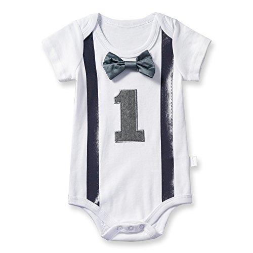 TTYAOVO Baby Jungen Mein Erster Geburtstag Fliege Bodysuit Romper Kleidung Outfits 1 Jahre Grau