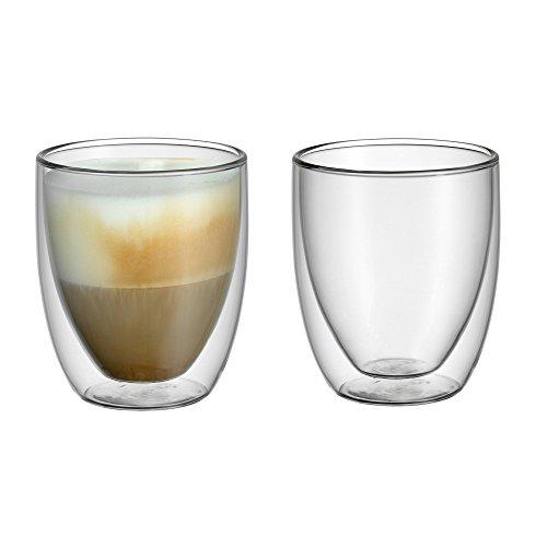 WMF Kult doppelwandige Cappuccino Gläser Set 2-teilig, doppelwandige Gläser 250ml, Schwebeeffekt, Thermogläser, hitzebeständiges Teeglas, Kaffeeglas