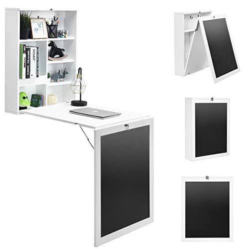 COSTWAY Wandtisch klappbar, Wandklapptisch aus MDF, Bartisch mit Tafel, Schreibtisch multifunktional, Esstisch, Küchentisch, Computertisch, Klappschreibtisch, Laptoptisch (Weiß)