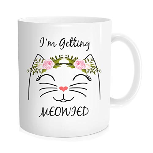Hasdon-Hill I'm Getting Meowied Mug, Engagement Gift for Bride to Be Coffee Cup, Perfect Gift for Brides and Spouses, Weddings Mug, Gift for Fiancee and Fiance Party, Bridesmaid Present, 11 OZ White