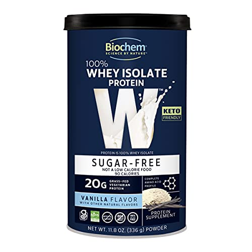 Biochem 100% Whey Isolate Protein - 11.8 oz - Sugar Free Vanilla - 20g Vegetarian Protein - Keto-Friendly - Amino Acids - Invigorating Taste - Easily Digestible