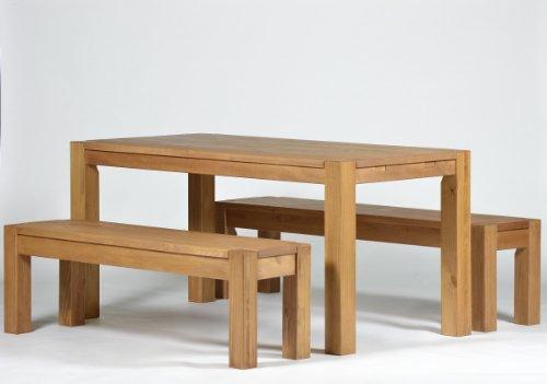 Sitzgruppe Rio Bonito Farbton Honig hell mit Esstisch 160x80cm + 2x Sitzbank 160x38cm Pinie Massivholz geölt und gewachst Tisch und Bank, Optional: passende Bankauflagen und Ansteckplatten