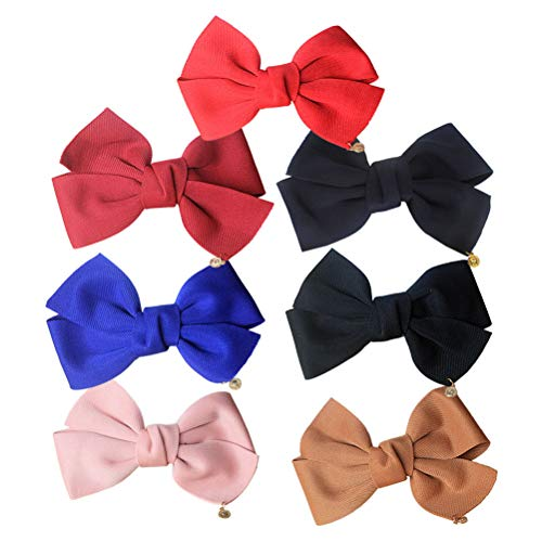 7pcs Spring Hair Clips Oversized Bowknot Cute Hair Barrettes Hair Pins for Women and Girls (Ming Blue + Red + Royal Blue + Khaki + Pink + Black + Wine