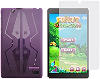 iShoppingdeals - Purple TPU Rubber Cover Case + Clear Screen Protector for Nextbook Ares 8 Tablet (Model NXA8QC116 Only)