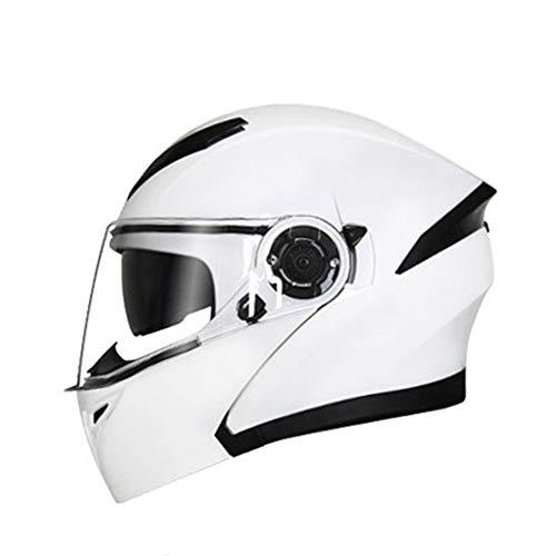 Stella Fella Cascos hombres doble espejo abierto cara casco de cuatro estaciones universal casco eléctrico motocicleta casco completo Bluetooth señoras casco blanco - patrón de personalidad