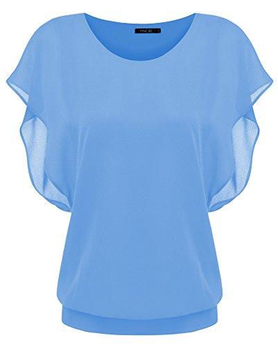 Zeagoo Damen Sommer Casual Loose Fit Kurzarm Fledermaus Batwing T-Shirt Shirt Chiffon Top Bluse, EU 40(Herstellergröße:L), Hellblau