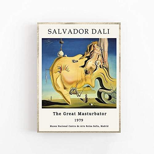 Póster de Salvador Dalí - El gran masturbador - Decoración de arte de pared - Lienzo decorativo sin marco familiar pintura A 30x40cm