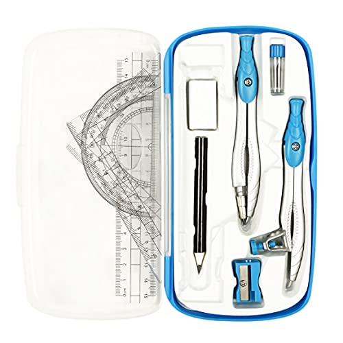 Lifreer Math Compass for Geometry Set,10 Pcs Student Geometry Box Includes Storage Box, Rulers, Protractor, Compass, Eraser, Sharpener, Lead Refills, Pencil for Drafting and Drawings(Blue)