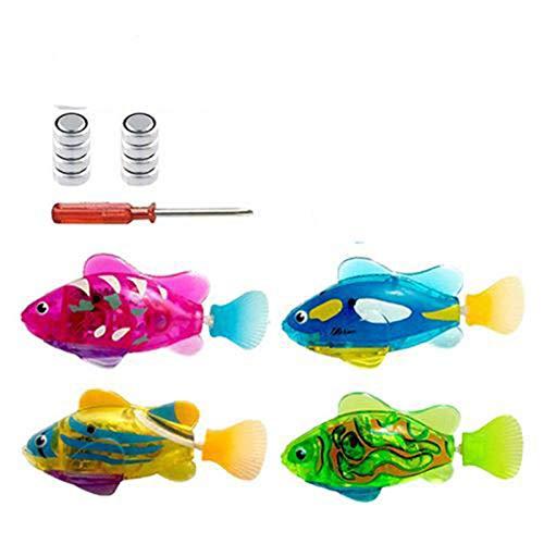 Juguete De Baño De Peces Robot De Natación De 4 Piezas - Mini Pez De Acuario Con Luz LED - Juguetes Interactivos De Plástico Para Peces - Juguetes De Baño De Peces Eléctricos Transparentes Ligeros