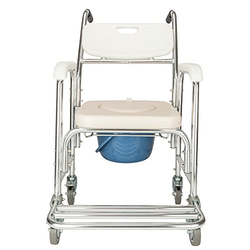 SSLine Aluminum Shower Chair Bedside Commode with Casters & Padded Seat Rolling Transport Chair Lockable Wheelchair Bedside Toilet Seat for Handicap Patient and Seniors