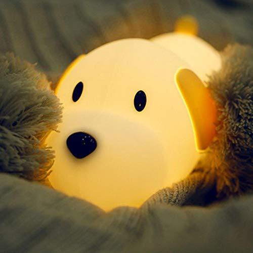 WWWL Luz de noche de silicona perro LED luz de noche sensor táctil regulable temporizador cachorro lámpara recargable USB dormitorio lámpara de noche para niños niños bebé