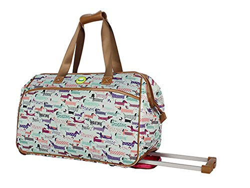 Lily Bloom Luggage Designer Pattern Suitcase Wheeled Duffel Carry On Bag (22in, Totally Paw-Some)