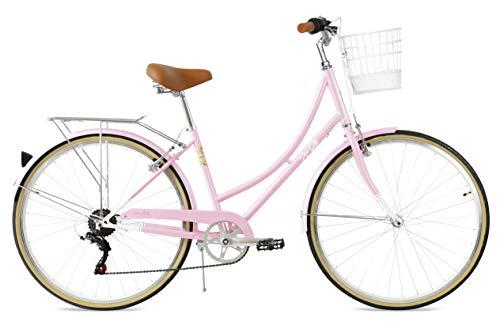 FabricBike Step City Damenfahrrad Amsterdam 28 Zoll Komfort Bike 7 Gang Hollandrad im Retro-Design (Candy Pink + Korb)