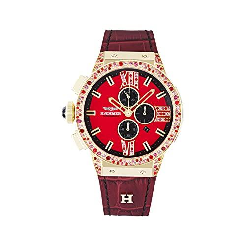 HÆMMER Casy E-008 - Reloj de pulsera analógico de cuarzo para mujer con cronógrafo dorado y rojo con cristal de zafiro resistente a los arañazos (45 mm de diámetro)