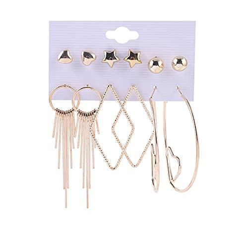 1 pieza de pendientes para niñas con diseño de corazón y borla con forma de estrella