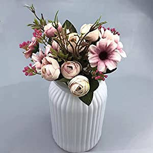 Silk Flower Arrangements Artificial and Dried Flower European Vintage Artificial Silk Daisy Camellia Flowers Small Rose Bride Bouquet Wedding Home Fake Flowers Party DIY Decor - ( Color: Pink )
