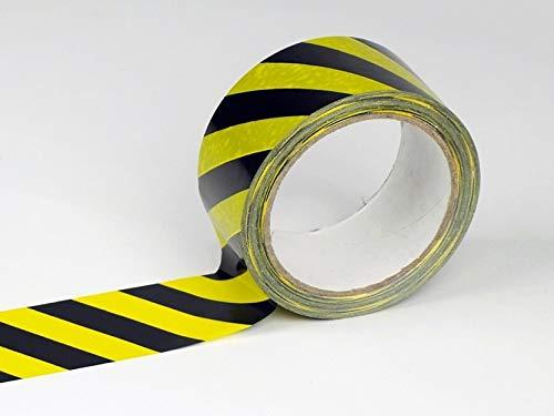 Cinta de advertencia de 60 metros para marcar distancia de seguridad en el suelo. Cinta adhesiva de alto gramaje y gran adherencia para pegar sobre todo tipo de suelos.