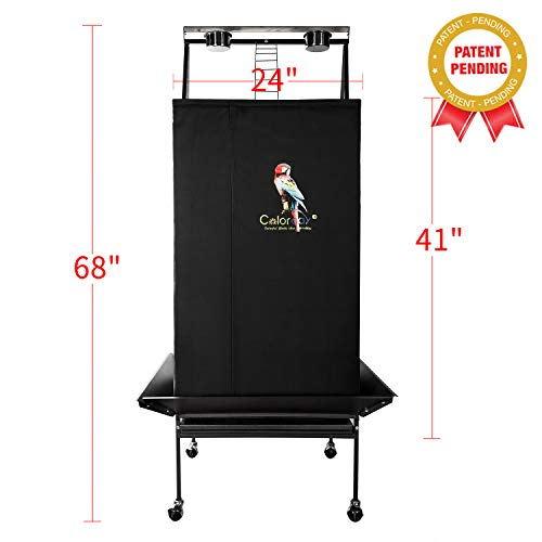 """Colorday Good Night Bird Cage Cover for Large Bird Cage with Play Top,Black 68"""""""