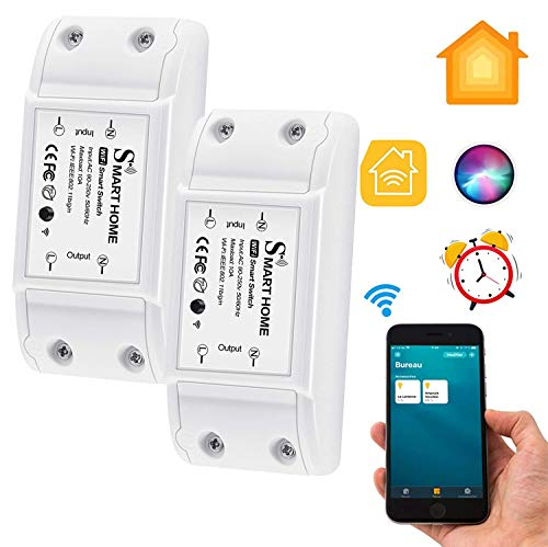 CAMPSLE Interruptor Inteligente WiFi, Interruptor Inalámbrico Control de Voz Temporizador App Control Interruptor, Módulo de Interruptor de Relé Compatible con Homekit Smart Assistant, (2 pcs)