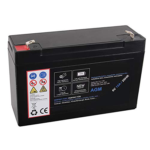 AGM Blei Akku 6V 12Ah 20HR Batterie Glasfaservlies Bleiakku Bleigel Vlies wartungsfrei Technik Universal 12000mah Lead Battery 12 Ah 12000 mah 6 Volt