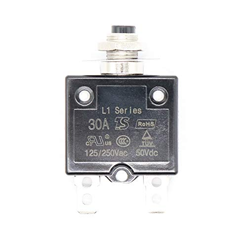 Kuinayouyi 1X 30A Disyuntor 12V / 24V Botón Reiniciable Interruptor Térmico Interruptor De Montaje En Panel con Tapa Impermeable