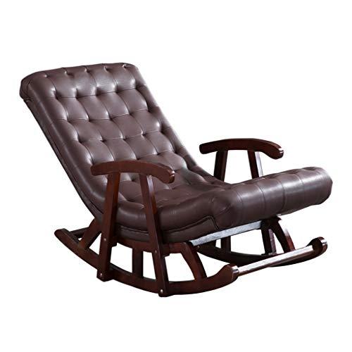 HYYTY-Y Einzelner Schaukelstuhl aus Leder, Massivholz mit Armlehnen-Sofa Lounge Chair - Braun/Grün/Weiß/Gelb 617-YY (Color : Brown)