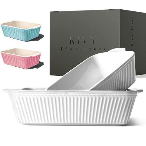 KIVY® Auflaufform - Perfekt für Lasagne,Tiramisu & Aufläufe - Lasagne Auflaufform Keramik - Auflaufform groß - Auflaufform klein - Lasagneform - Ofenform rechteckig - Tiramisu Form