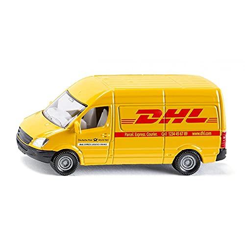 SIKU 1085, Furgone Postale, Metallo/Plastica, Giallo, Logo DHL, per Uso in Vari Contesti