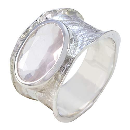 joyas plata natürlicher edelstein ovale form ein stein facettierter rosenquarz ring - 925 sterling silber rosa rosenquarz ring - mai geburt stier astrologie natürlicher edelstein ring