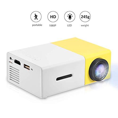 VBESTLIFE Mini Heimkino Portable LED Beamer, HD HDMI Multimedia Player Projektor für Reisen, Camping,Hof, Reisen, Camping,unterstützt HDMI, AV, USB-Eingang(Weiß + Gelb)