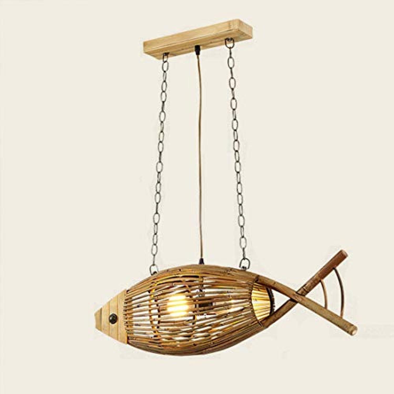 Bauernhaus Stylefish-frmigen Bambus Kronleuchter Antik handgefertigte rustikale Restaurant kreative Beleuchtung E27 einzigen Deckenleuchte