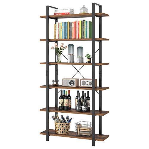 Homfa Libreria Vintage Scaffale Industriale Portaoggetti Stabile Organizzatore Autoportante (105.2×33×210.5)