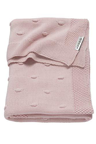 Meyco 2733052 Babydecke gestrickt mit Knoten 75x100 cm, Rosa