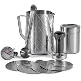 VonShef 9Pc Barista Style Gift Set – Stainless Steel Coffee Set – Includes 1L Milk Jug, Thermometer Probe, Chocolate Shaker, Tamper, 4 X Stencils & 2-in-1 Coffee Clip & Measuring Spoon