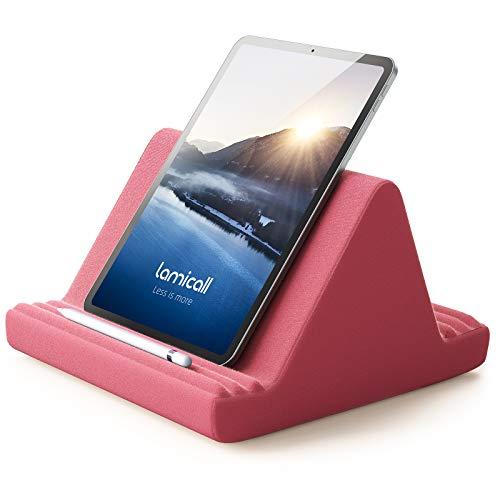 Lamicall Soporte de Almohada para Tablet - Almohada Soporte Sofá Cama para 2020 iPad Pro 9.7, 10.5, 12.9, iPad Air 2 3 4, iPad Mini 2 3 4, Switch, Samsung Tab, iPhone, Otras Tablets - Rojo Naranja
