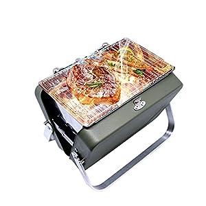 バーベキューコンロ QFUN 焚き火台 mini 小型 BBQコンロ 卓上グリル 1-2人用 ステンレス製 焚火台 バーベキューグリル BBQグリル 軽量 折り畳み 収納ケース付き 日本語説明書つき ソロキャンプ アウトドア 19.5×15×15cm 父の日ギフト