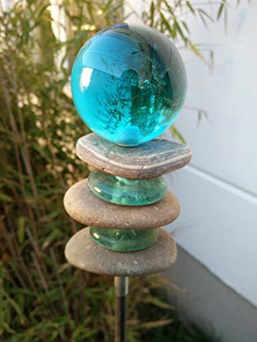 Zen Man Gartenstecker Beetstecker mit Glaskugel Stein Gartenfigure Gartendeko B6*H115cm