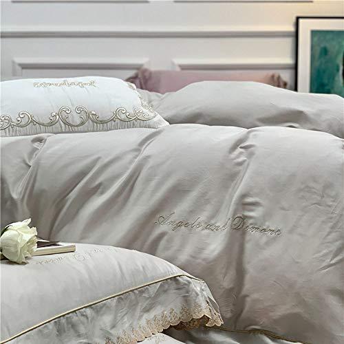 WHSS Juego de cama doble de algodón de fibras largas, color gris sólido, con bordado de encaje, cuatro simples ropa de cama, estilo hotel, juego de regalo (tamaño: 200 x 230 cm)