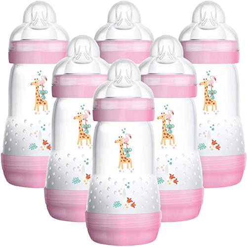 MAM 6x 260ml Babyflaschen Set rosa Anti-Kolik Nuckelflaschen BPA-frei Selbststerilisierend Sauger Gr. 2
