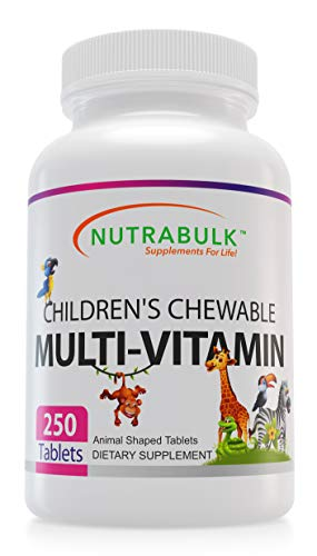 NutraBulk Children's Chewable Multi-Vitamin Tablets for Kids to Support Immune, Bone, and Brain, Contains All Natural Vitamins, Minerals, B Complex. Cherry Flavor (250 Count)