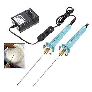 ExcLent 2pcs cortador de la pluma de poliestireno eléctrico cortador de la espuma del alambre de la goma caliente Styro herramientas cuchillo de corte-enchufe de la UE