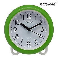 JIBANG Waterproof Bathroom Clock, Desktop Clocks for Bathroom, 7 Inches Silent Non-Ticking Prevent Mist Wall Clock, 7 Colors are Optional, Green