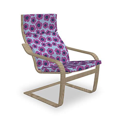 ABAKUHAUS Beschwingt Poäng Sessel Polster, Hand gezeichneter rosa Mohnblumen, Sitzkissen mit Stuhlkissen mit Hakenschlaufe und Reißverschluss, Fuchsia Blau Violett