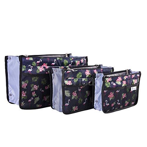 Periea 'Chelsy' Handtasche Veranstalter Einsätze – für Handtaschen aller Größen – 13 Taschen – Packung mit 3, klein, mittel & groß (Blau mit Flamingos)